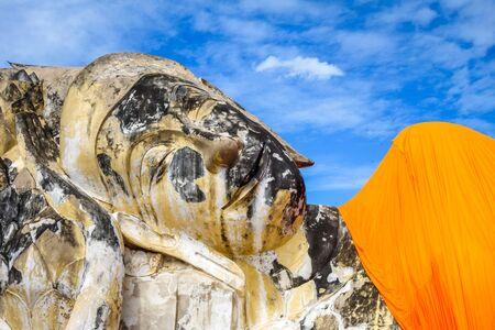 Reclining Buddha statue in Wat Lokaya Sutharam temple, Ayutthaya, Thailand Фото со стока