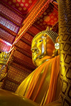 Gold Buddha statue, Wat Phanan Choeng temple, Ayutthaya, Thailand