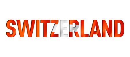 Swiss flag text font. Switzerland symbol background