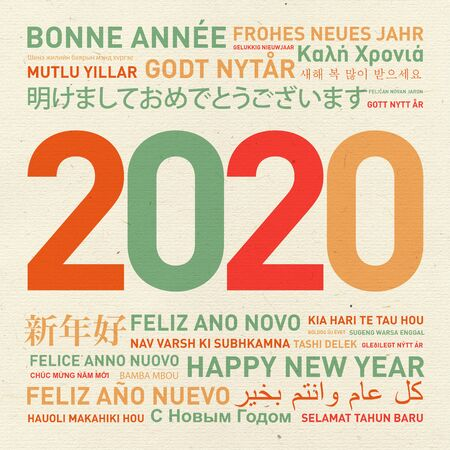 2020 Happy new year vintage card from the world in different languages