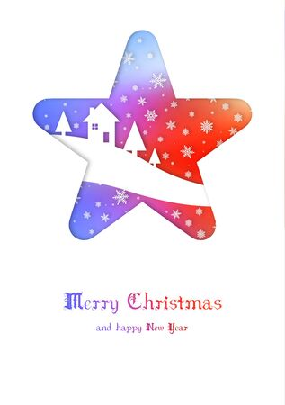 Merry Christmas card with a house in a rainbow star Stock fotó - 133569673