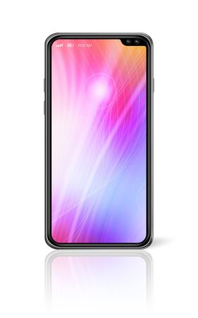 All-screen digital colorful blank smartphone mockup isolated on white. 3D render