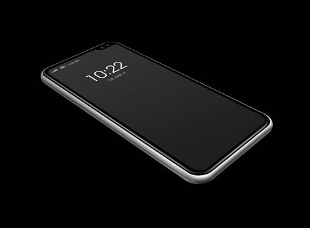 All-screen digital blank smartphone mockup isolated on black with clock display. 3D render Imagens