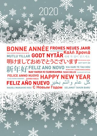 Happy new year greetings card in different world languages Stock fotó