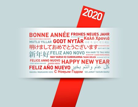 2020 Happy new year greetings card from the world in different languages