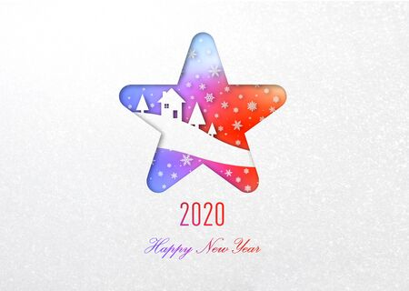 2020 Happy new year rainbow card in star frame