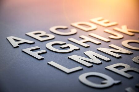 Alphabet made with solid letters. closeup view