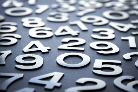 Mathematics background made with solid numbers - Closeup view Reklamní fotografie - 135487502