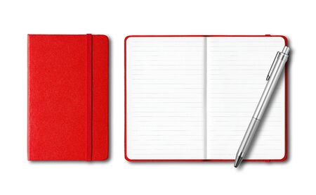 Red closed and open lined notebooks with a pen isolated on white Archivio Fotografico