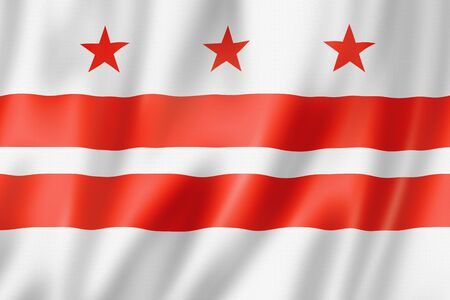 Washington, District of Columbia flag, united states waving banner collection. 3D illustration