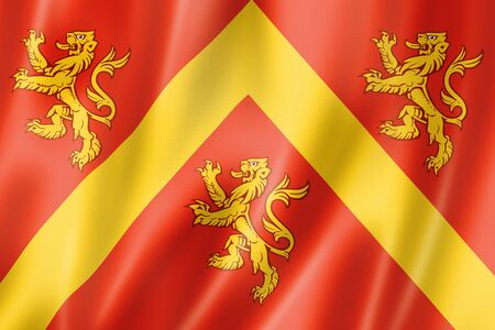Anglesey County flag, United Kingdom waving banner collection. 3D illustration Banque d'images - 142849985