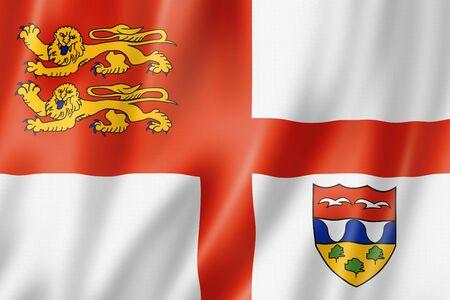 Brecqhou island flag, United Kingdom waving banner collection. 3D illustration Banque d'images - 142837804