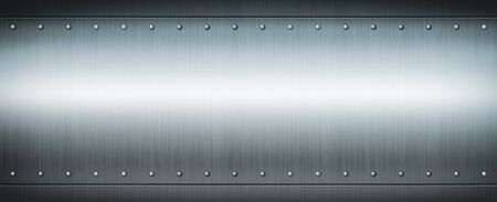 Steel riveted brushed plate background texture. Blue Metal banner background. Banque d'images - 142837836