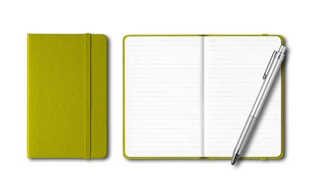 Olive green closed and open lined notebooks with a pen isolated on white Banque d'images - 142990361