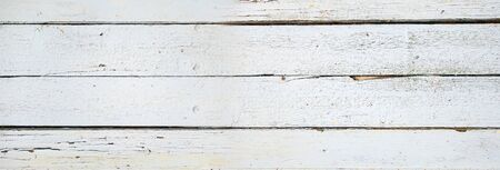 Old wood board painted white banner background texture Banque d'images - 142990385