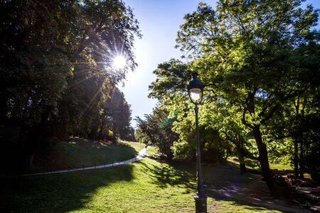 Buttes-Chaumont famous Park in summer, Paris, France