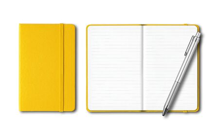 Yellow closed and open lined notebooks with a pen isolated on white Banque d'images - 142947451