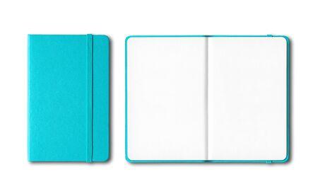 Aqua blue closed and open notebooks mockup isolated on white Banque d'images - 142947477