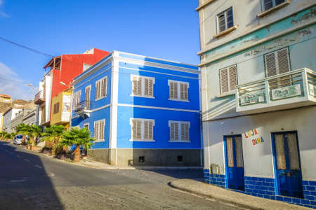 Mindelo/Cape Verde - August 20, 2018 - Colorful houses and city streets, Sao Vicente