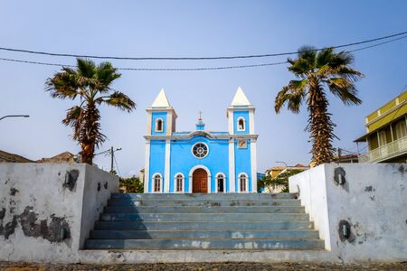 Blue church in Sao Filipe, Fogo Island, Cape Verde, Africa Stockfoto