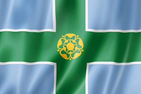 Derbyshire County flag, United Kingdom waving banner collection. 3D illustration Banque d'images - 142866032