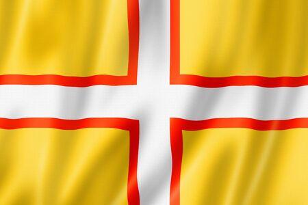 Dorset County flag, United Kingdom waving banner collection. 3D illustration Banque d'images - 142866021