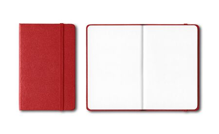 Dark red closed and open notebooks mockup isolated on white