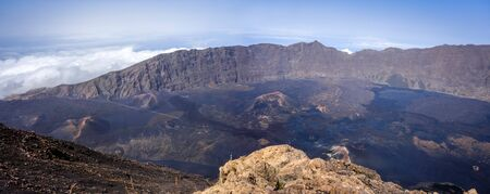 Cha das Caldeiras panoramic view from Pico do Fogo in Cape Verde, Africa