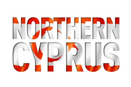 Northern Cyprus flag text font. National symbol background Banque d'images - 143001654