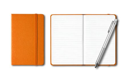 Orange closed and open lined notebooks with a pen isolated on white Banque d'images - 143001656