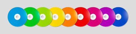 Colorful rainbow CD - DVD range isolated on grey background banner - mockup illustration Stockfoto
