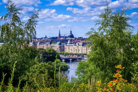 Gamla Stan landscape panoramic view in Stockholm, Sweden