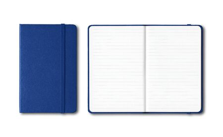 Marine blue closed and open lined notebooks mockup isolated on white