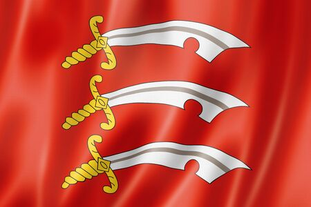 Essex County flag, United Kingdom waving banner collection. 3D illustration Stockfoto