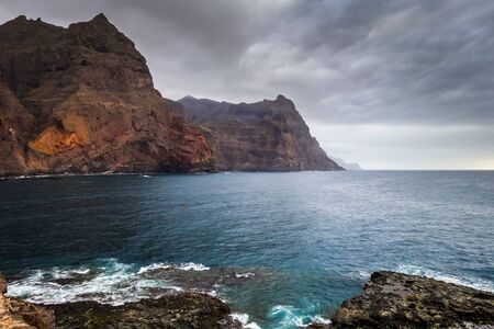 Cliffs and ocean view in Santo Antao island, Cape Verde, Africa Banque d'images - 143236211