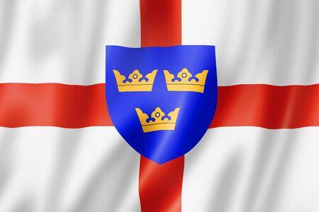East Anglia Region flag, United Kingdom waving banner collection. 3D illustration