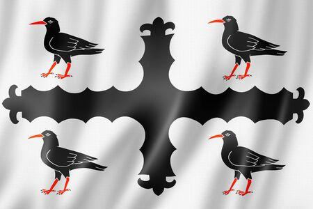 Flintshire County flag, United Kingdom waving banner collection. 3D illustration Banque d'images - 143236307