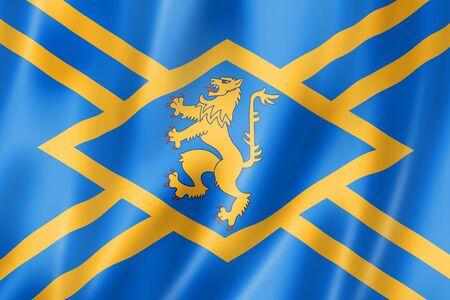 East Lothian County flag, United Kingdom waving banner collection. 3D illustration