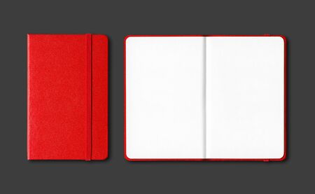 Red closed and open notebooks mockup isolated on black Stockfoto
