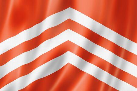 Glamorgan County flag, United Kingdom waving banner collection. 3D illustration