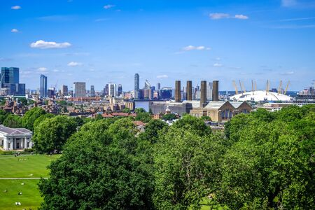 Canary Wharf panoramic view from Greenwich Park, London, United Kingdom