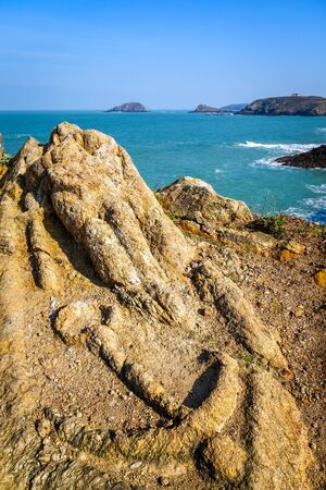 Carved rocks of Rotheneuf in Saint-Malo, brittany, France Stockfoto