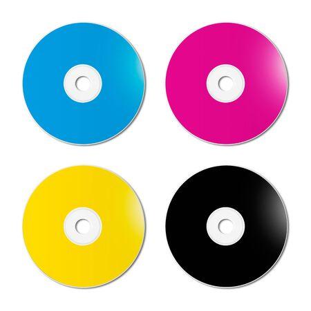 CMYK CD - DVD set isolated on white background - mockup illustration