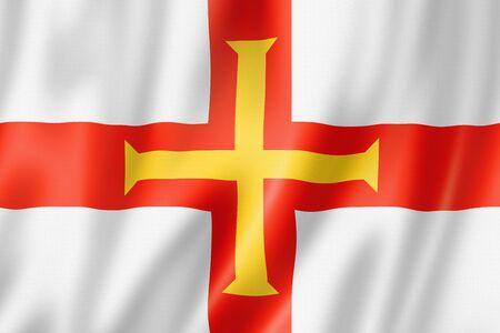 Guernsey island flag, United Kingdom waving banner collection. 3D illustration