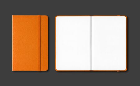 Orange closed and open notebooks mockup isolated on black