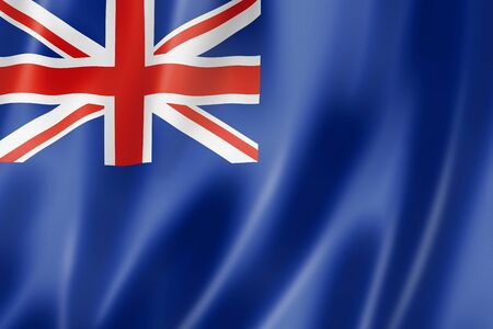Blue ensign, United Kingdom waving flag. 3D illustration