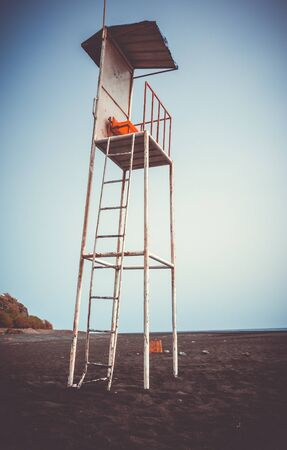 Lifeguard tower chair in Fogo Island, Cape Verde, Africa