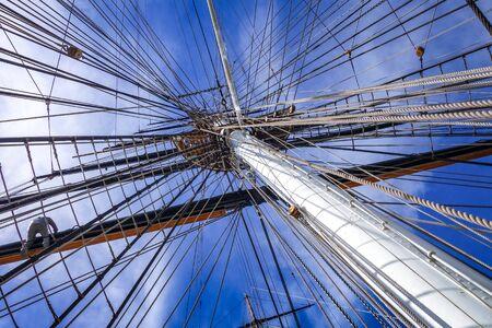 Old naval ship mast and sail ropes detail