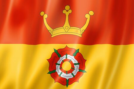 Hampshire County flag, United Kingdom waving banner collection. 3D illustration