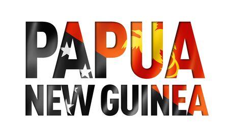 Papua New Guinea flag text font. National symbol background Stockfoto